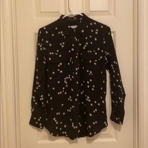 Equipment black silk blouse, XS